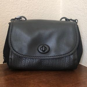 NWT Coach Mixed Material Black Leather Crossbody